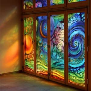 16 Ostfenster der Kapelle zum Sonnengesang | Floatglasmalerei