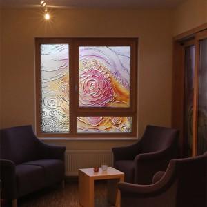 Rosenrelief | Thermische Verformung und Floatglasmalerei